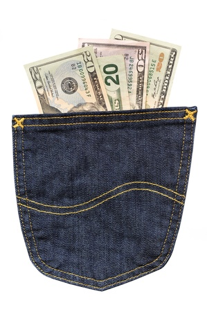 Cash in your pocket Stock Photo