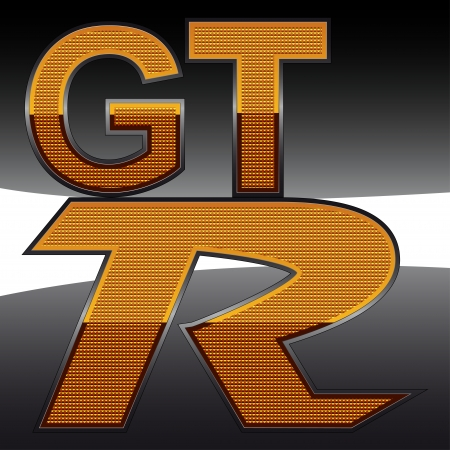 the emblem of the GTR in the orange reflector with refraction Stock Vector - 17002869