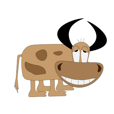 Funny cow with large horns and a big nose Stock Vector - 17033638