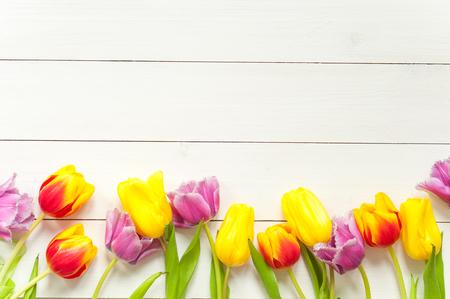 Tulips on white wood