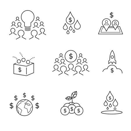 Crowdsourcing and crowdfunding icons