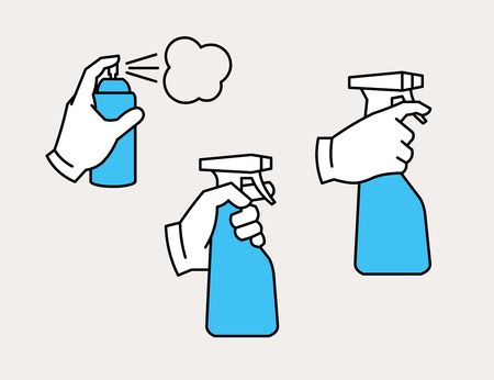 Hand holding spray bottle and spray can