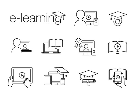 e-Learning line icons. Illustration