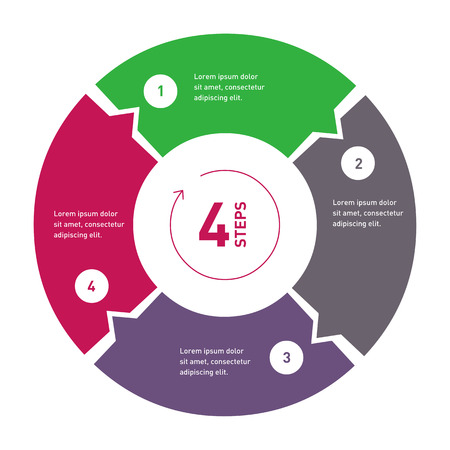 5 step process circle infographic template for diagram annual