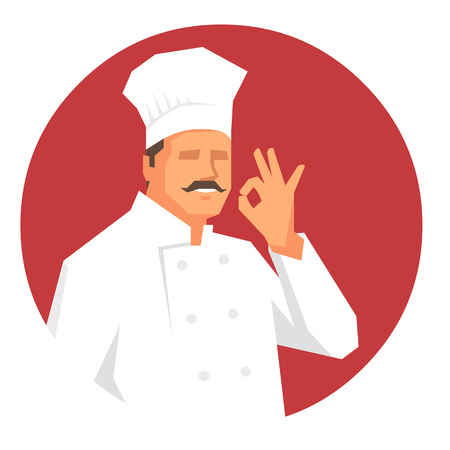 french culture: Confident chef in uniform with moustache gesturing ok hand sign. Flat vector illustration in round format.