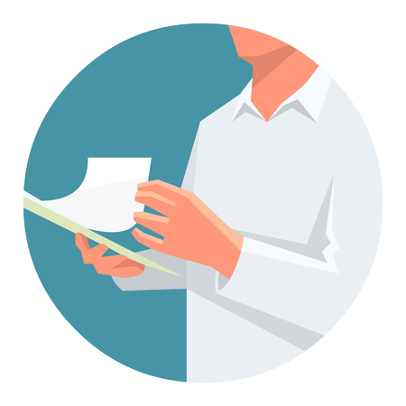 turning the page: Flat vector illustration of a person holding clipboard in one hand and turning page.