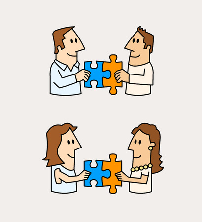 Concept of friendship and love. Two male and female matching puzzle pieces. 向量圖像