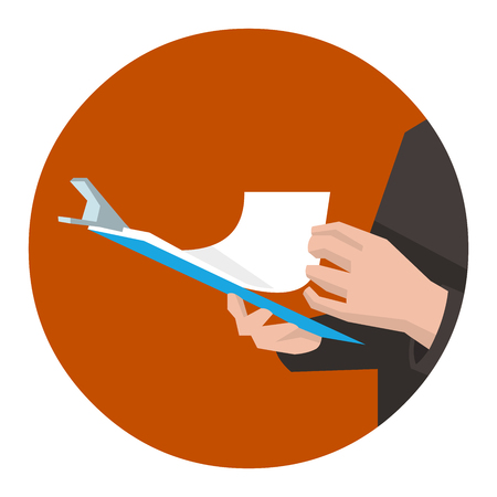 inspector: Manager or inspector checking the documents for quality control. Flat vector illustration. Illustration