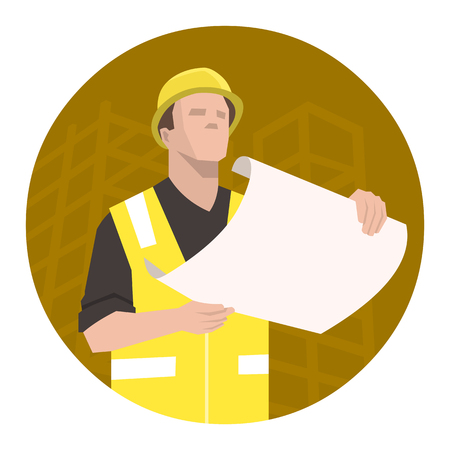 inspector: Construction worker, engineer or architect looking at the project plan. Yellow round background construction site silhouette.