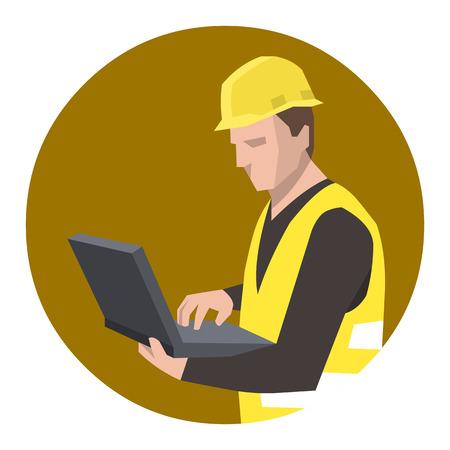 civil construction: Construction worker engineer using laptop computer
