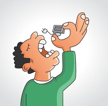 Consuming technology concept cartoon. Man eating a computer. Illustration