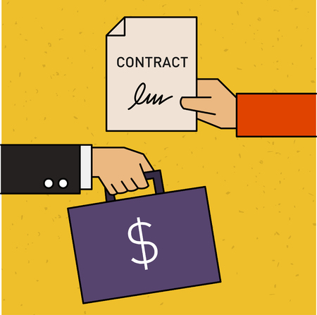 Money and signed contract vector illustration