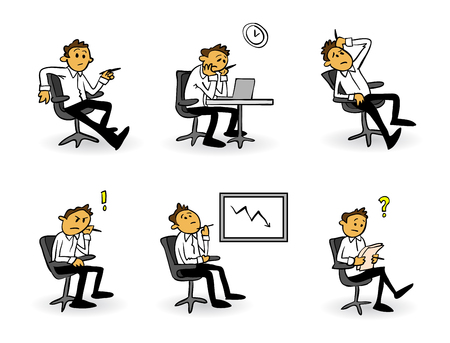 Worried, frustrated, stressed businessman cartoon