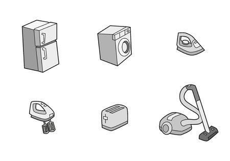 Household appliance icons of fridge, toaster, washing machine, vacuum, mixer, iron 向量圖像