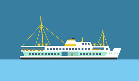 Passenger ferry ship flat vector icon.