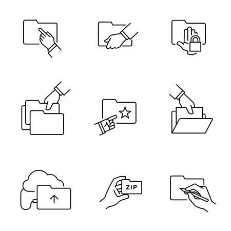 Folder file document icons 向量圖像