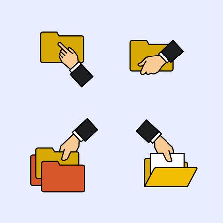 organise: Folder file document icons Illustration