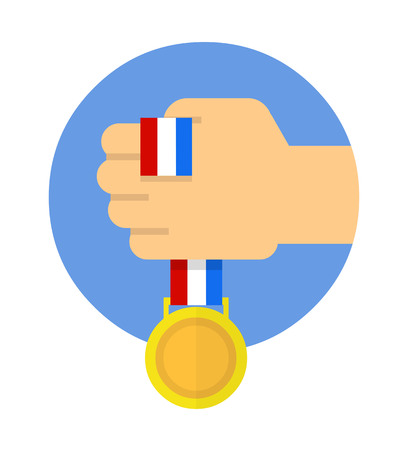 Golden medal with ribbon in hand, in blue circle. Flat vector.