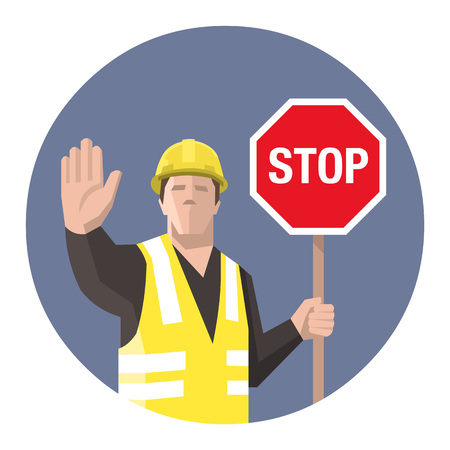 Construction worker holding STOP sign in his hand. Vector illustration.