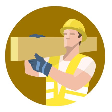 Builder carpenter carrying heavy wooden plank on shoulder 向量圖像