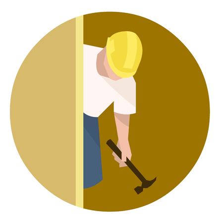 Builder or carpenter with hammer doing house renovation