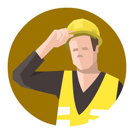 Construction worker holding hardhat or helmet 向量圖像