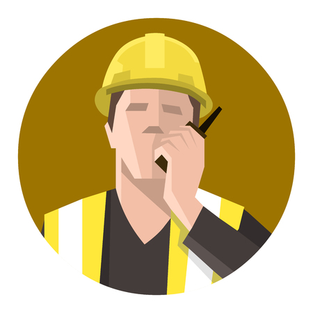 Construction worker talking on the radio