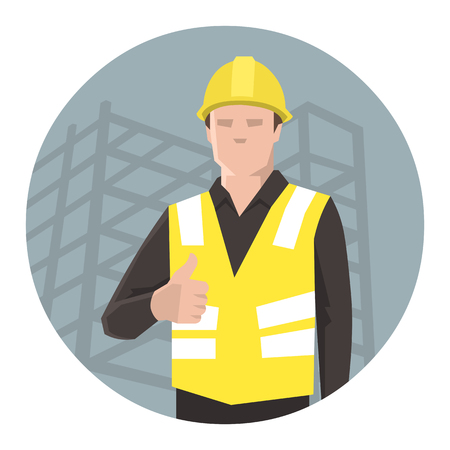 Construction worker giving thumbs up. Flat vector illustration.