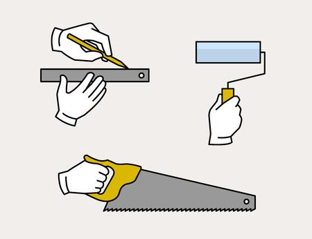 Carpenter hand tools 向量圖像