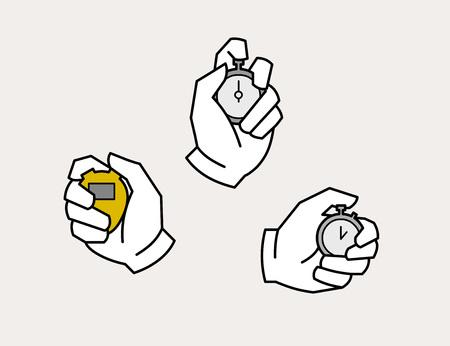 Hands holding watch 向量圖像