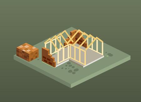 Isometric brick house construction site. Vector illustration.