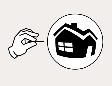Hand with needle ready to pop the property bubble. Housing bubble concept icon 向量圖像