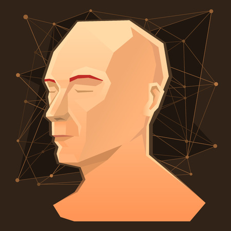 Vector illustration of human head. The concept of human mind, imagination, science and creativity.