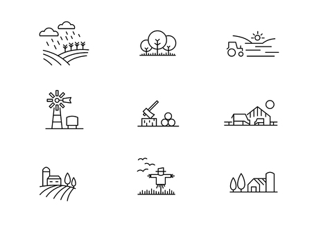 Farm landscape icons, thin line style 向量圖像