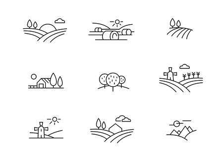Icônes de paysage de pays, style de ligne fine de vecteur Vecteurs