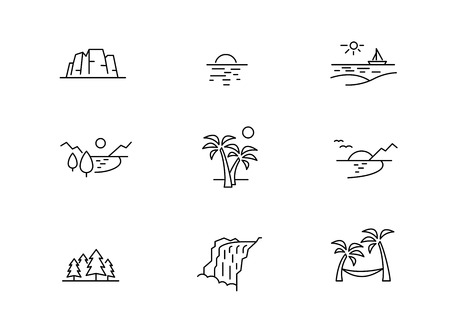 Nature holiday icons 向量圖像