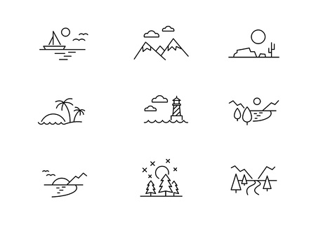 Nature landscape icons, vector line style