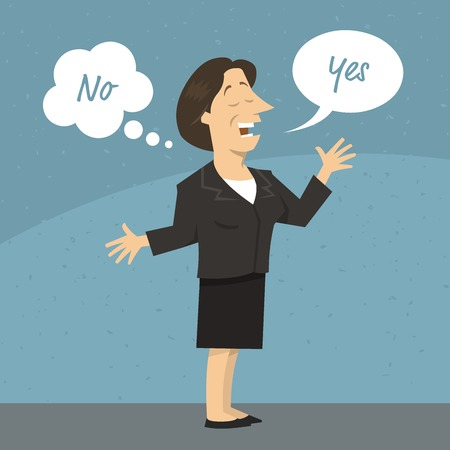 Female business woman or politician telling a lie