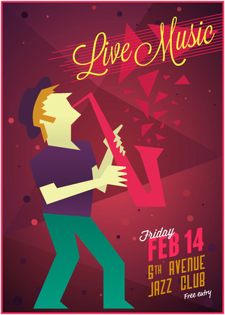 Live jazz music party poster template. Vector illustration 向量圖像