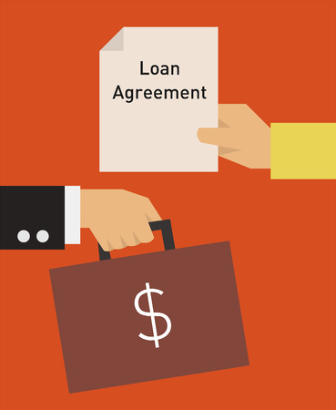 Loan agreement flat illustration. Hand holding contract exchanging with another hand holding a briefcase with money.