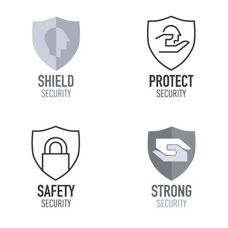Security and protection logo in shield form. Vector illustration 向量圖像