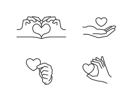 Love icons. Hand holding heart, hands making heart shape 向量圖像