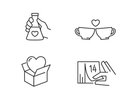 Love icons.Love potion, coffee cups, valentines day gift 向量圖像