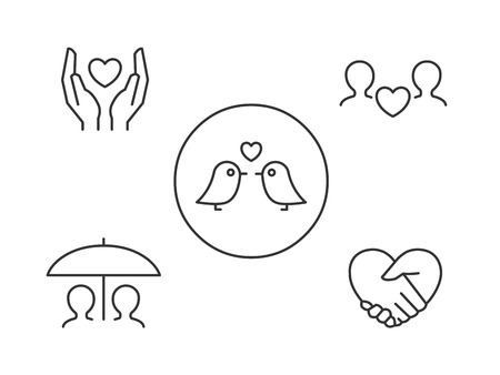 Love icons. Hands holding heart, love birds, hands in heart shape, lovers sharing an umbrella.