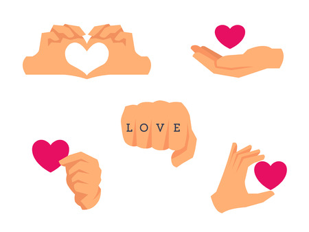 Love icons. Hand holding heart, hands making heart shape, fist tattoo.