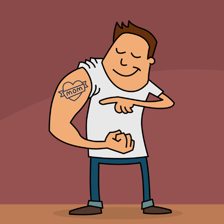 Funny cartoon of a young man showing his I love Mom tattoo on his arm. Mothers Day card.