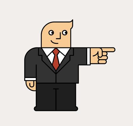 Cartoon man pointing his finger, showing something