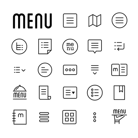 Menu line icons 向量圖像