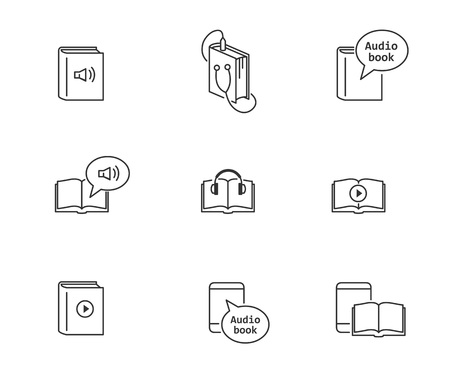 Audiobook and electronic e-book icons. Ilustrace