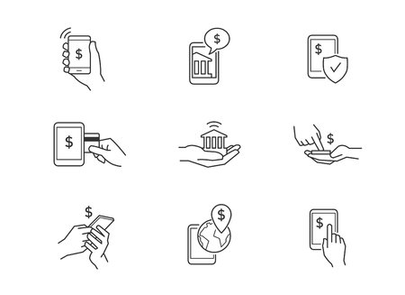 Mobile banking icons. Online money transfer using mobile phone. 向量圖像